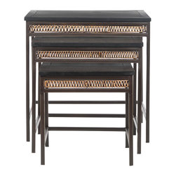 Safavieh - Reed Stacking Tables - A study in mixed media, the Reed stacking tables feature a beautifully grained black pine top with apron of honey brown woven wicker, and metal frames finished in lush dark walnut. Use this versatile piece beside a sofa, or place it in front of a chair for use as a dining or work surface. No assembly required.