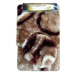 Rug - Gold Brown Plush Bathroom Mat 3-PC-Set, 100% Polyester Hand-tufted - Brighten your Home Bathroom with these unique High Quality Mats that add comfort softness underfoot. High-Traction floor mats are designed to prevent the mat from slipping out from under your foot, providing a safer transition step onto the mat. Design for incredible comfort with Vibrant colors that won't fade wash after wash. Step out of your tub or shower on to the luxurious comfort of this unique bath mat. Our plush and ultra soft bath mat is super soft and absorbs water twice as fast as other materials, making it extra gentle and ultra absorbent.