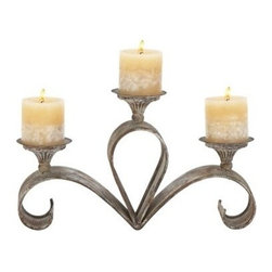 "Benzara - Metal Candle Holder 15""W, 9""H - Metal candle holder 15""W, 9""H. Size: 15 Wide x 4 Depth x 9 High (Inches). Material: Premium grade metal alloy. Some assembly may be required."
