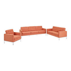 """LexMod - Florence Style Loft Armchair Loveseat and Sofa Set of 3 in Orange Tweed - Loft Armchair Loveseat and Sofa Set of 3 in Orange Tweed - The mid-20th century was a time when hopes were at their highest. Technological developments were bustling forward, and the new world was just barely visible in the distance. But this time also presented a dilemma of sorts. The test of this forthcoming era was to be whether industry would foster comfort or stifle it. What makes the Loft series so complete? At first glance, it displays a pleasant linear design with an external tubular stainless steel frame. The back and seat are tufted and buttoned to enhance the overall richness of the piece. But can these aspects be said to define the totality of a classic? The answer then must be something profound. A thought that serves as representative of that era, while matching the sentiments of our present age. Our suggestion is that the Loft series conveys the potential of progress. From amidst the steel base, a comfortable seating experience is attained. From out of the exponential surge of technological growth, comes peace and solace. Perhaps this is why Loft is the sofa series of choice for so many Fortune 500 companies. Aside from its iconic feel, the set is symbolic of a time when technological innovation could do no wrong. When faster was seen only as something positive. The Loft series is the preferred choice for reception areas, living rooms, hotels, resorts, restaurants and other lounge spaces. Set Includes: One - Loft Armchair One - Loft Loveseat One - Loft Sofa Rich Wool Upholstery, Tufted Seat and Back with Buttons, Tubular Stainless Steel Frame, Foot caps to prevent scratching Overall Product Dimensions: 94""""L x 152.5""""W x 31""""H Loveseat Dimensions: 31""""L x 63""""W x 31""""H Sofa Dimensions: 30.5""""L x 90.5""""W x 32""""H Armchair Dimensions: 31""""L x 31""""W x 31""""H Seat Dimensions: 21""""L x 16""""H Armrest Height: 23""""H - Mid Century Modern Furniture."""