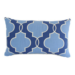 The Pillow Studio - Lumbar Pillow Cover with Blue and Ivory Geometric Design - This lumbar pillow cover is blue and ivory with a strong geometric design; the design is softened with the various shades of blue.