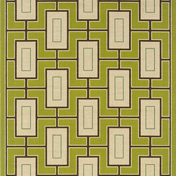 Style Haven - Green/Ivory Outdoor Area Rug (3'10 x 5'6) - Add sophisticated style to an outdoor dining or lounge area with this beautifully balanced geometric outdoor area rug. Featuring brilliant lime green and pale ivory hues, this outdoor rug offers a contemporary look thats certain to please.