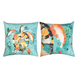 Manual - Sea Turtle Bay Cool Colors Indoor/Outdoor Reversible Pillow 18 In. - This 18 inch beach themed throw pillow adds a wonderful accent inside your home, or outdoors on your porch or patio. The Climaweave fabric is durable, fade and moisture resistant, and is sure to look and feel great for years, wherever you display it. The front of the pillow features a colorful watercolor style sea turtle on a cool blue background. The back of the pillow features a close up view of the turtle in the same colors, and has a more abstract look. It is made of 100% polyester, from the cover to the soft stuffing, and is proudly made in the USA. This pillow is perfect on chairs, couches, and beds in your home or on your boat- buy a pair and display one on each side for a matching set
