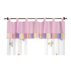 "Sweet Jojo Designs - Butterfly Pink & Lavender Window Valance - The Butterfly Pink & Lavender Window Valance is a gorgeous window treatment that will add a designer's touch to any nursery. This valance softens the look of the window and obscures pulled up blinds. It will coordinate nicely with your Sweet Jojo Designs bedding or can be used as an accent with your own room design.The valance dimensions are 84"" x 15""."