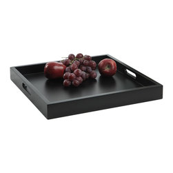 Convenience Concepts - Serving Tray in Black Finish - Square shape. Limited warranty. Made form painted wood. No assembly required. 16.6 in. W x 16.6 in. D x 2 in. H (5 lbs.)Exciting new design from Convenience Concepts. Inc. that combines urban design and multi-function use.