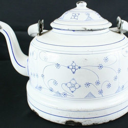 EuroLux Home - Consigned Antique French Blue White Pattern Enamel - Product Details