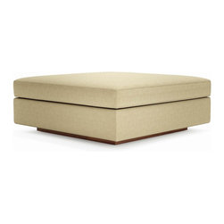 True Modern - Jackson Ottoman - Marlow Chocolate - Add this Ottoman to any of the Jackson items or as a standalone piece. Need an oversized ottoman to be used as a coffee table? Look no further this is the one for you. The oversized seat, arms and pillows make it the ultimate lounger, but the clean design still keeps it modern and hip. The seat cushions are wrapped in down and the back pillows are stuffed with luxurious blend of feather and down as well. Our exclusive baffled system helps keep the feathers in place so you won't need to constantly fluff the pillows. The wooden base is hidden so the ottoman really appears to be floating on air. Its polyester woven fabric is durable and soft with a great multi tone texture.