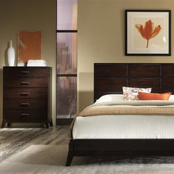 Liberty Furniture - Franklin 3 Pc Bedroom Set (Queen) - Choose Bed: QueenIncludes panel bed, dresser and nightstand. Chest and mirror not included. Hook-on rail system. Center supported slat system. Dresser with six drawers. Nightstand with two drawers. French and English dovetail construction. Kenlin drawer glides. Dust proofing on bottom case. Felt lined drawers. Wood stained bar hardware. Splay leg design. Warranty: One year. Made from solid hardwood, Kloin and birch veneers. Merlot finish. Made in Vietnam. Queen bed: 85 in. L x 65 in. W x 50 in. H (105 lbs.). King bed: 85 in. L x 82 in. W x 50 in. H (122 lbs.). Dresser: 62 in. W x 18 in. D x 34 in. H (142 lbs.). Nightstand: 24 in. W x 17 in. D x 26 in. H (56 lbs.)