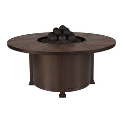 """54"""" Rd. Chat Height Santorini Iron Fire Pit - By OW Lee"""