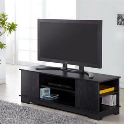 Furniture of America - Furniture of America Colbie Modern TV Cabinet in Black - This six-compartment modern TV cabinet adds a contemporary look to any environment. The six compartments allow for ample storage of your media accessories while the matte black wood veneer finish allows for easy cleaning. Some assembly is required.