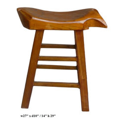 "Chinese Fish Shape Seat Tall Wooden Stool - Dimensions: w27"" x d10"" /14"" x h29"""