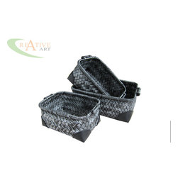 BAMBOO BASKET - THIS KIND OF BAMBOO BASKET IS MADE BY HAND BY VIETNAMESE WEAVERS. THIS IS BLACK WITH SILVER WASHED FINISHED, PU AT THE CORNER