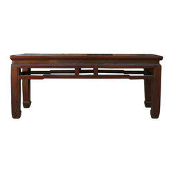 Golden Lotus - Chinese Oriental Apron Double Seat Bench - This is a traditional Chinese wooden bench with apron accent.