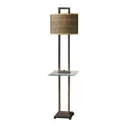 Uttermost Stabina End Table Floor Lamp - Rustic bronze metal with burnished edges, black marble foot and a tempered, rectangle glass tray. Rustic bronze metal with burnished edges, black marble foot and a tempered, rectangle glass tray. The oval drum shade is brown and tan woven rattan with decorative trim.