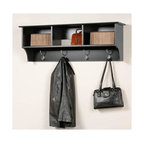 Prepac - Entryway Wall Mount Coat Rack w 3 Cubbies in - You can organize and have display space all in one piece!  This wall shelf is versatile for large or small areas and features open cubbies for easy access and storage.  You can even use it as a coat rack and bookshelf, which is perfect for any dorm.  Provide your guests and family with ample space to shed their outdoor clothing and bags with this handy wall coat rack.  Easily store backpacks, coats, purses, and anything else your family needs to keep by the door with this attractive Sonoma entryway shelf with hooks and plenty of storage cubbies. * Includes easy to install two-piece hanging rail system. Four large metal hooks. Warranty: Five years. Made from CARB-compliant, laminated composite woods. Made in North America. Assembly required. Internal: 14.25 in. W x 10 in. D x 8.75 in. H. Overall: 48 in. W x 11.5 in. D x 16.5 in. HKeep your gloves, hats, coats and jackets together where you need them with the Entryway Cubbie Shelf. Perfect for any front hallway, mudroom or home office, its three compartments have room for everything from mittens to schoolbooks. Four large hooks provide sturdy storage for your outerwear, scarves and tote bags. Install it easily with our innovative hanging rail system and get the versatile entryway piece you've been missing.