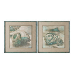 Uttermost - Uttermost Coastal Gems Framed Art, Set of 2 51084 - These oil reproductions feature a hand applied brushstroke finish. Outer section of frames have lightly distressed, muted aqua undertones with heavy charcoal wash. Inner lips have an offwhite undertone with heavy taupe wash. Mats are gray, oatmeal linen.