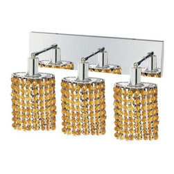 "PWG Lighting / Lighting By Pecaso - Wiatt 3-Light 14.5"" Crystal Vanity Fixture 1091W-O-E-LT-SS - Whether shown individually or as a collection, our Mini Crystal Chandeliers are stunning in any fashion. This stylish collection offers stunning crystal in a range of colorful options to suit every decor."