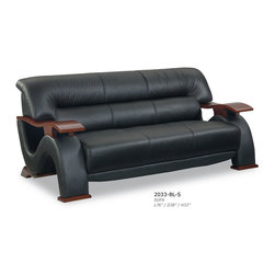"""Global Furniture - 2033 Leather Sofa in Black - 2033 Leather Sofa in Black;Features: Color: Black;Material: Leather/Leather Match;Legs Color/Material: Mahogany/Wood;Mahogany wood arms;Dimensions: L76"""" x D38"""" x H33"""""""