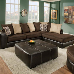 Chelsea Home - 2-Pc Hughe Sectional Set - Includes right arm facing chaise and left arm facing sofa with toss pillows. Ottoman not included. Medium seating comfort. Reversible seat cushion. Nailed, stapled and corner blocked frame. Cover: San Marino mocha/martin chocolate/coffee/peppercorn. Fabric content: 78% poly vinyl chloride, 2% polyurethane, 20% TC backing/100% polyester. 1.5 dacron wrapped foam cores. Constructed with sinuous springs to provide no sag seating. Made from solid hardwoods and plywoods. Made in USA. No assembly required. Chaise: 91 in. L x 38 in. W x 38 in. H (155 lbs.). Sofa: 81 in. L x 38 in. W x 38 in. H (125 lbs.). Overall: 119 in. - 91 in. L x 38 in. W x 38 in. H (280 lbs.)