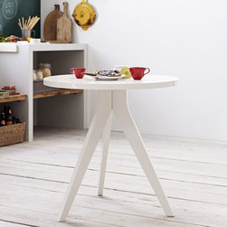 New Tripod Table - Breakfast for two? The bistro table, reimagined in a clean-lined, contemporary way, is a stylish small-space solution, not only in the kitchen but in an entryway or alongside a sofa or chair.