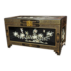 Oriental Furniture - Birds and Flowers Trunk - This exquisitely detailed chest was hand-crafted by a family of artisans in Guangdong. The front, lid, and side panels have been decorated with delicately hand-carved mother of pearl, and hand-painted designs run along the edges. The fully finished interior contains a removable shelf box for added versatility.