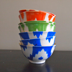 Handmade Vintage Ikat Ceramic Bowls, Medium - How delicate and beautiful are these ikat ceramic bowls? Perfect for a chic cocktail party, use them to hold nuts and olives.
