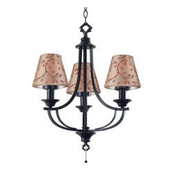 Grandin Road - Belmont Outdoor Chandelier - Resin base with an oil-rubbed bronze finish. Includes 2 interchangeable sets of all-weather shades in solid taupe or a neutral leaf print. UL-listed for use in wet locations. 8' cord. The Belmont Outdoor Lighting Collection lets you create a sophisticated outdoor space perfect for after-dark entertaining. Our traditionally-inspired lamp complements most outdoor furniture styles, giving your deck or porch all the warmth, charm, and ambiance of your living room. .  .  . .