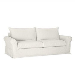 PB Comfort Roll-Arm Grand Sofa with Knife-Edge Cushion Slipcover, Washed Linen/C - Designed exclusively for our versatile PB Comfort Grand Collection, these soft, inviting slipcovers retain their smooth fit and remove easily for cleaning. Grand Armchair with Box Back Cushions shown. Care varies depending on {{link path='pages/popups/fab_leather_popup.html' class='popup' width='720' height='800'}}fabric type{{/link}}. This item can also be customized with your choice of over 90 custom fabrics and colors. For details and pricing on custom fabrics, please call us at 800.840.3658 or click Live Help above. All slipcover fabrics are hand selected for softness, quality and durability. This is a special-order item and ships directly from the manufacturer. To see fabrics available for Quick Ship and to view our order and return policy, click on the Shipping Info tab above. Watch a video about our exclusive {{link path='/stylehouse/videos/videos/pbq_v36_rel.html?cm_sp=Video_PIP-_-PBQUALITY-_-SUTTER_STREET' class='popup' width='950' height='300'}}North Carolina Furniture Workshop{{/link}}.