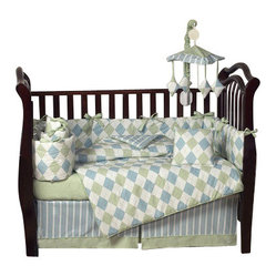 Sweet Jojo Designs - Argyle Blue & Green 9-Piece Crib Bedding Set by Sweet Jojo Designs - Classic argyle and stripes come together to give your nursery a traditional touch. The set has everything you need, from bedding and toy bag and diaper stacker to window valance.
