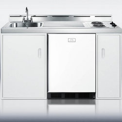 """Summit - C60E 60"""" 2 Burner Electric Combination Kitchen with White Cabinet  Stainless Ste - The Summit C60E 60 in combination kitchen with 53 cu ft refrigerator features a stainless steel sink 2 electric sealed burners and 2 storage compartments with a stainless steel top This Summit includes a deluxe CT67 refrigerator-freezer with 2 evapor..."""