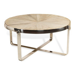 Kathy Kuo Home - Zanuso Industrial Reclaimed Elm Stainless Steel Circular Coffee Table - Gleaming stainless steel and natural reclaimed elm come together for a winning combination. The eclectic style and  traditional substance of this coffee table provide a stunning centerpiece for a family room, sitting room or den.