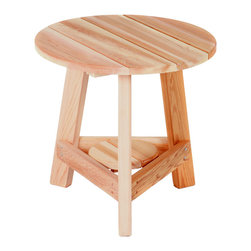 All Things Cedar - Cedar Tripod Table - Convenient, durable, attractive. A useful item on any patio, deck or poolside. Goes well with our Adirondack and Cedar Arm Chair. Item is made to order.
