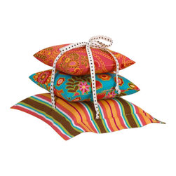 Cotton Tale Designs - Gypsy Pillow Pack - Set of 3 - A quality baby bedding set is essential in making your nursery warm and inviting. All Cotton Tale patterns are made using the finest quality materials and are uniquely designed to create an elegant and sophisticated nursery. Gypsy pillow pack consists of three individual pillows that can be tied together with dot bias or used separately. Three pillows measures 15 x 15, 12 x 12, 10 x 10 inches. Pillows should never be used in the crib. Spot clean only. Perfect for girls nursery.