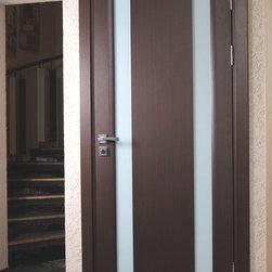 "Modern Interior Doors - ""Stella"" modern oak interior door with frosted glass. Solid core. the price includes door slab, door frame and casings."