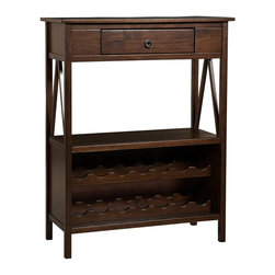 Linon - Titian Wine Cabinet - Simple yet eye-catching design. Some Assembly Required. Antique Tobacco Finish. Will store up to 14 bottles of wine.. Overall Dimensions: 35.98 in. W x 16.02 in. D x 45.98 in. H (59 lbs)Our Titian Collection has a simple yet eye-catching design that is matched with incredible durability. The Wine Cabinet features a single storage drawer ideal for storing corks and bottle openers. The spacious top and lower shelf allow you to keep glasses and other necessities close at hand. The bottom portion of the cabinet allows you to safely store up to fourteen bottles of wine. A neutral, classic Antique Tobacco finish allows this piece to easily complement your homes decor.