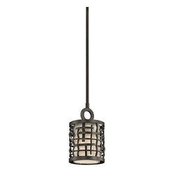 Kichler Lighting - Kichler Lighting 43048OZ Loom Transitional Mini Pendant Light - This 1 light mini pendant from the Loom collection features a basket weave frame and textured intertwined Olde Bronze details with a white fabric shade and satin-etched glass diffuser. It combines the classic lines of mission with the casual look of lodge and rustic styles in one. Sloped ceiling kit included.