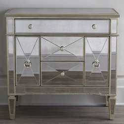 "Horchow - 'Amelie' Mirrored Nightstand - The ""Amelie"" Mirrored Nightstand is covered with mirrors that have been given an antiqued silver finish for an aged appearance. For a touch of glam and wonderful storage, you can beat this beautiful bedside table."