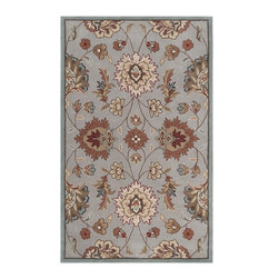 Surya - Surya KGT2000-58 Kingston Rug - The styling of the Kingston collection is undoubtedly eclectic, incorporating the latest fashion colors of modern interiors with the classic lines of today's fabrics and accents. Set against a solid background the curving florals appear to dance across the rug. These painstakingly hand tufted beauties can be called colorfully neutral, and will compliment any space where traditional meets modern. Made in China from 1% polyester.