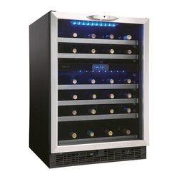 Danby - Silhouette 5.1 CF Wine Cooler - The Danby DWC518BLS 5.1 Cu. Ft. Silhouette Wine Cellar can be built-in or freestanding. It has a capacity to hold 51 bottles and features dual temperature zones for red and white storage. The precise digital thermostat with LED display allows the temperature to be accurately set and monitored through the door. The sleek design and auto cycle defrost will make it a welcome addition to any home.51 bottle (5.1 cu. ft.) capacity|Built-in or freestanding application|Dual temperature zones for red & white storage|Temperature range of 4C~18C (390F~ 640F) per compartment|Precise digital thermostat with LED display allows the temperature to be accurately set and|Cool blue - LED lighting illuminates the interior without the heat of an incandescent bulb|Stainless steel trimmed black wood shelves|New roller glide shelves to minimize agitation|Tempered glass door with stainless steel frame and handle|Safety lock with key|  danby| dwc518bls| 5.1 cu. ft. silhouette wine cellar| silhouette wine cellar| silhouette| wine cellar| wine| cellar| 5.1 cu. ft.| led  Package Contents: Silhouette wine cellar|manual / warranty  This item cannot be shipped to APO/FPO addresses