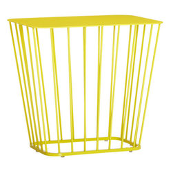 Wire Side Table - If you want your outdoor area to have a retro vibe, look no further than this wire side table. Available in a vibrant yellow, it's the perfect addition to your patio or deck.