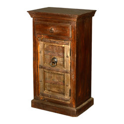 Gothic Golden Door Reclaimed Wood Night Stand End Table Cabinet - Maximize the most of your space and furniture dollars with our handmade Gothic Golden Door Mini Cabinet.