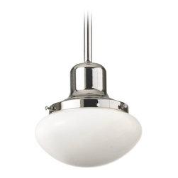 Vintage Style Mini-Pendant Light with White Glass Bowl Shade -