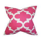 """The Pillow Collection - Titian Geometric Pillow Candy Pink 18"""" x 18"""" - Hip and trendy, this accent pillow provides endless comfort. This toss pillow features a geometric pattern in shades of candy pink and white. Decorate this square pillow to your sofa, bed or couch. Ideal for contemporary space, this 18"""" pillow is made with a blend of 55% cotton and 45% linen fabric."""