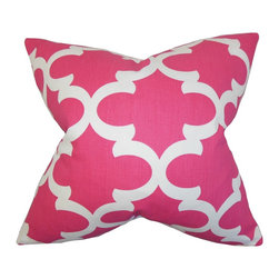 "The Pillow Collection - Titian Geometric Pillow Candy Pink - Hip and trendy, this accent pillow provides endless comfort. This toss pillow features a geometric pattern in shades of candy pink and white. Decorate this square pillow to your sofa, bed or couch. Ideal for contemporary space, this 18"" pillow is made with a blend of 55% cotton and 45% linen fabric."