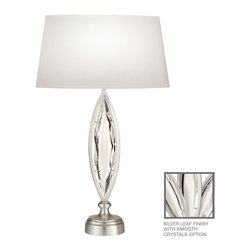 Fine Art Lamps - Fine Art Lamps 850210-11 Marquise Silver Polished Crystal Table Lamp - Fine Art Lamps 850210-11 Marquise Silver Leaf Table Lamp