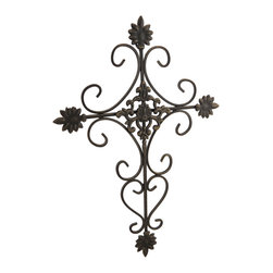 Zeckos - Ornate Metal Antique Bronze Finish Hanging Wall Cross - Add an ornate accent to your wall and the room with this metal wall cross featuring a decorative scrolling design and bursting leaf accents. It'll blend in with most decor with its hand-painted aged bronze finish, and easily hangs with a just a single nail or screw using the attached hanger on the back. Enjoy this wall cross above the bed in your bedroom, on the porch, patio or at your entryway. Measuring 12.75 inches (23 cm) high, 9 inches (23 cm) wide and 1/2 inch (1 cm) deep, it'll make a thoughtful housewarming gift sure to be admired