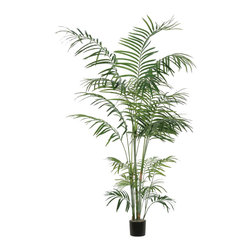 Vickerman - 6' Tropical Palm Deluxe - 6' Deluxe Tropical Palm Tree in Black Plastic Pot