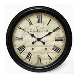 "Infinity Instruments - Large Metal Chester Clockmaker Gallery Wall Clock - This English styled piece brings back a piece of history with its planked styled back and worn whitewashed face. Its large Roman numerals are easy to see from anywhere in the room. The dark finish on the frame will go with a variety of dcors. Features: -Wall clock. -Whitewashed face. -Black hands. Dimensions: -35.875"" H x 35.875"" W, 28 lbs. Manufacturer Warranty Infinity Instruments' warranty applies to repair or replacement of product found to be defective in material or workmanship for one year from date of original purchase."