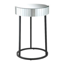 Office Star - Office Star Krystal Round Mirror Accent Table with Metal Legs - Office Star - Nesting Tables - KRY17A - OSP Designs krystal round mirror accent table with metal legs fully assembled. This krystalized accent table gives a beautiful, elegant look for any bedroom or living room. Featuring a glass surface top and steel contrasted legs and frame.