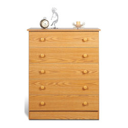 Prepac - 37.5 in. Chest with 5 Drawers - Includes tipping restraint bracket. Matching plastic knobs. Removable drawers run smoothly on nylon glides with built-in safety stops. Sides, top, drawer fronts and kickers made from 0.63 in. thick laminated composite board. MDF drawer components and backer. Warranty: Five years. Oak finish. Made in North America. Drawer: 26 in. W x 12.5 in. D x 4 in. H. Overall: 30 in. W x 15 in. D x 37.5 in. HGo for maximum storage with the Edenvale five drawer chest. Designed in a crisp, simple style, this chests five full-sized removable drawers gives you a ton of storage in one understated, budget-friendly package. This essential piece will be right at home in a bedroom of any size or decor. Straightforward storage at last!